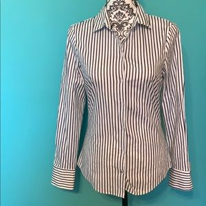 Zara Basic Striped Button Down Long Sleeve M